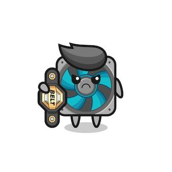 Personaggio mascotte fan del computer come combattente mma con la cintura del campione, design in stile carino per t-shirt, adesivo, elemento logo