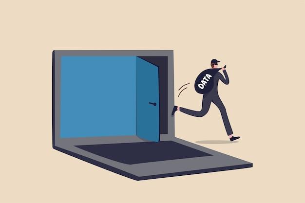 Hacker di computer, sicurezza informatica, ransomware online o malware per rubare dati personali dal computer, ladro criminale con borsa con la parola dati che scappa dalla porta segreta sul computer portatile.