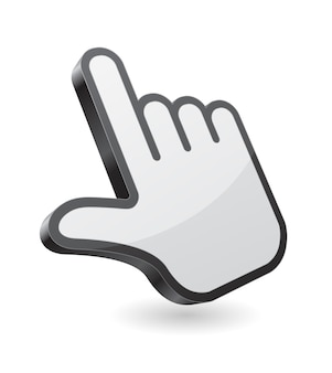 Cursore del puntatore della mano del computer 3d