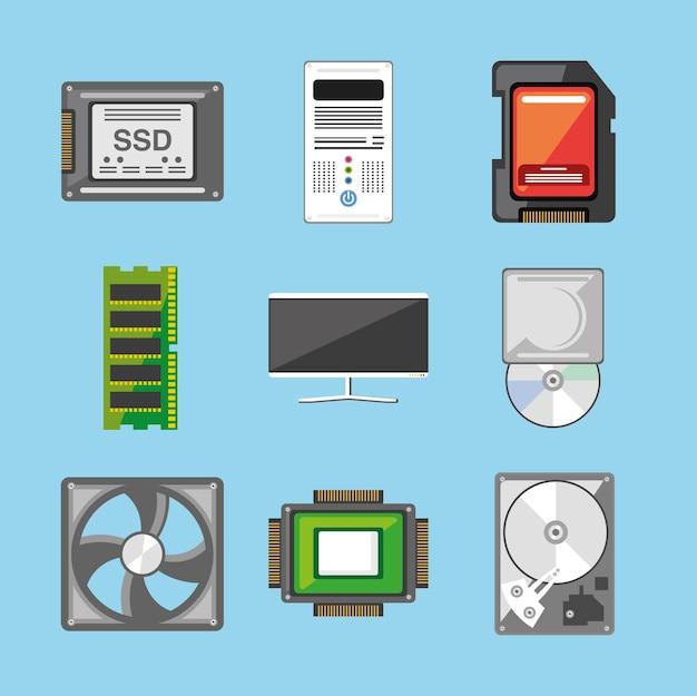 Insieme dell'icona dell'hardware del computer