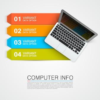 Info computer banner arte creativa. illustrazione vettoriale