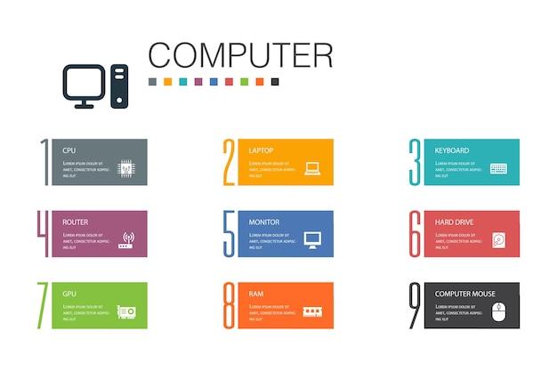 Computer infografica 10 linea di opzioni concept.cpu, laptop, tastiera, disco rigido semplici icone