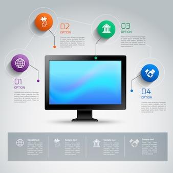 Modello di computer infographic