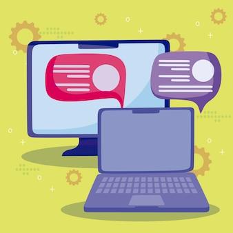 Computer portatile chat bolle messaggio social media fumetto illustrazione