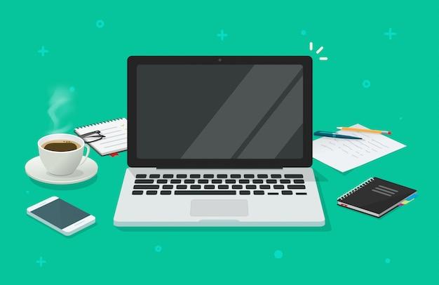 Computer portatile con lo schermo vuoto in bianco per il testo dello spazio della copia sul fumetto piano della tavola dello scrittorio del workin o dell'illustrazione del posto di lavoro