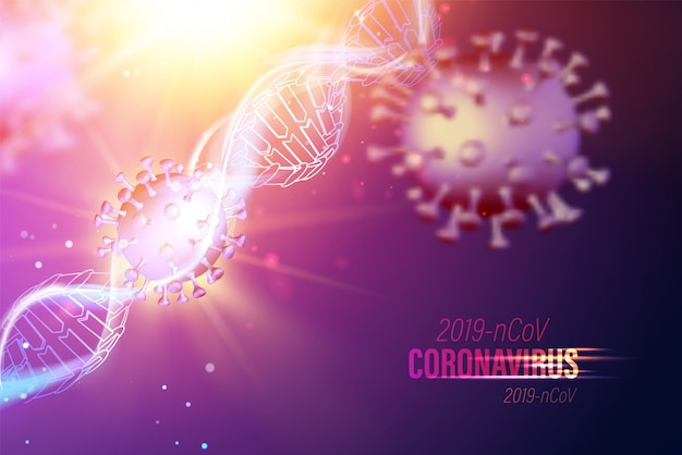 Modello informatico di coronavirus nei raggi futuristici all'interno del genoma del dna umano su sfondo viola. modello 3d del virus 19-ncov. illustrazione medica