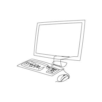 Disegno a linea continua della tastiera del monitor del computer una linea d'arte del personal computer con schermo lsd