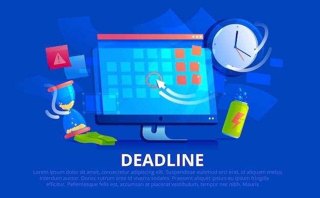 Uno schermo del monitor del computer, ha un calendario online con una data di scadenza e un cursore. sul tavolo sono una clessidra, accanto a un orologio e una bevanda energetica. bandiera