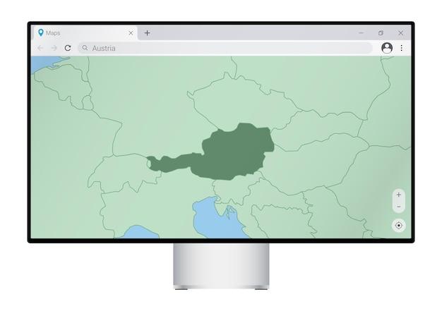 Monitor del computer con mappa dell'austria nel browser, cercare il paese dell'austria sul programma di mappatura web.