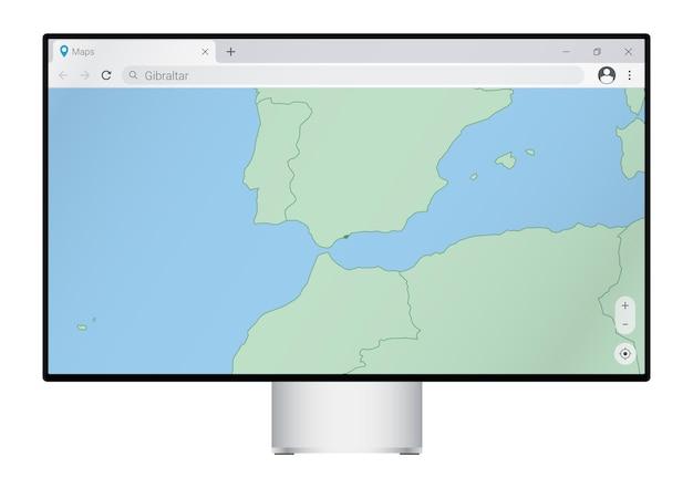 Monitor del computer con mappa di gibilterra nel browser, cerca il paese di gibilterra sul programma di mappatura web.