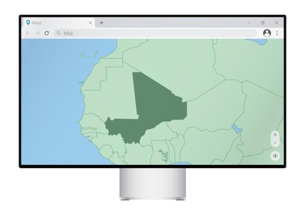 Monitor del computer con mappa del mali nel browser, cerca il paese del mali sul programma di mappatura web.