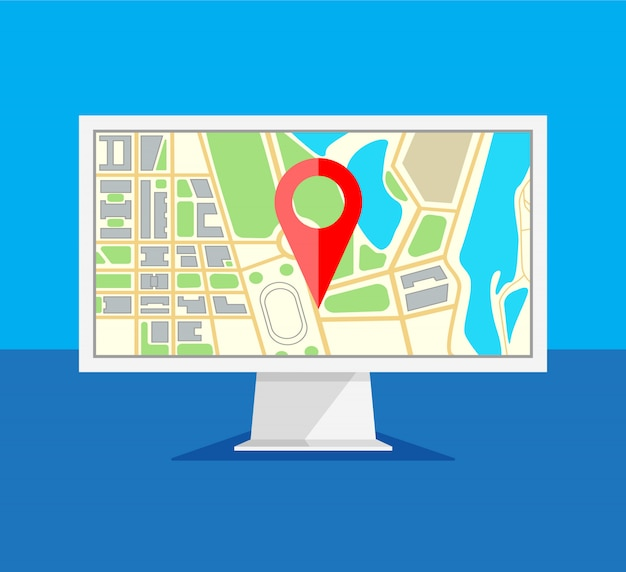 Monitor del computer con la navigazione della mappa su uno schermo. navigatore gps con pinpoint rosso. schermo del computer isolato su sfondo blu. illustrazione in uno stile piatto alla moda.