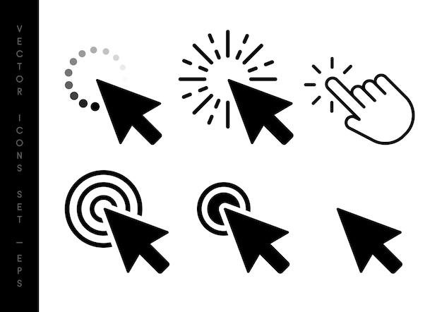 Set di frecce nere del cursore del clic del mouse del computer.