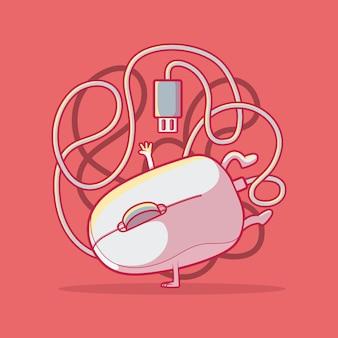 Illustrazione di ballo del mouse del computer.