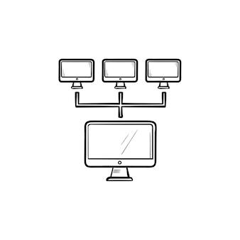 Icona di doodle di contorno disegnato a mano di rete di computer. tecnologia di connessione e comunicazione, concetto di rete