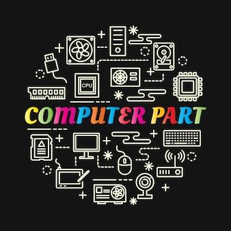 Gradiente colorato di computer parte con set di icone di linea