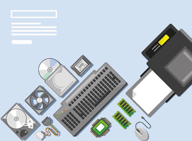 Parti di computer e stampante