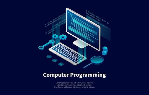 Illustrazione concettuale di programmazione di computer nello stile del fumetto 3d.