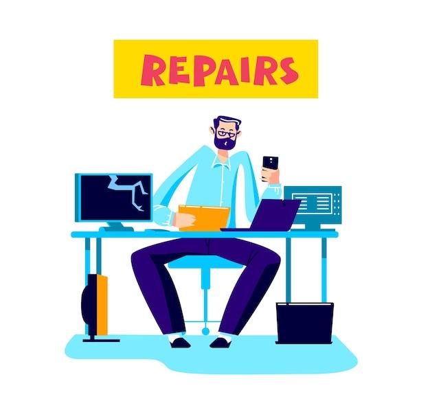 Lavoratore del servizio di riparazione computer che fissa i desktop dei dispositivi