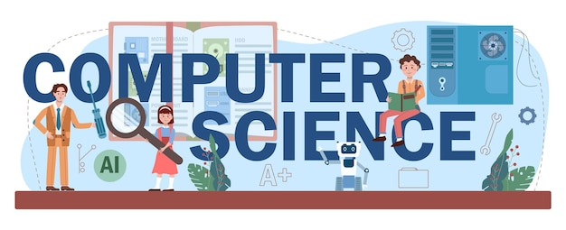 Intestazione tipografica di informatica. gli studenti imparano a conoscere algoritmi, intelligenza artificiale e computer, script e struttura dei dati. formazione e tecnologia informatica. illustrazione vettoriale piatto.