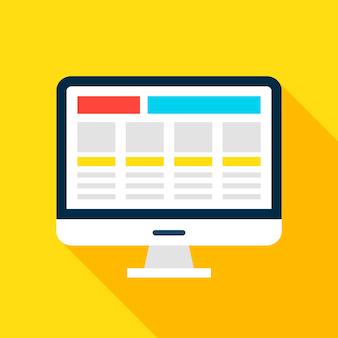 Icona dello schermo del computer. illustrazione di vettore stile piano con ombra lunga. sviluppo del sito web.