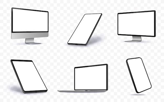 Illustrazione di schermo di computer, laptop, tablet pc e telefono cellulare con viste prospettiche. dispositivi con schermo vuoto su sfondo trasparente.