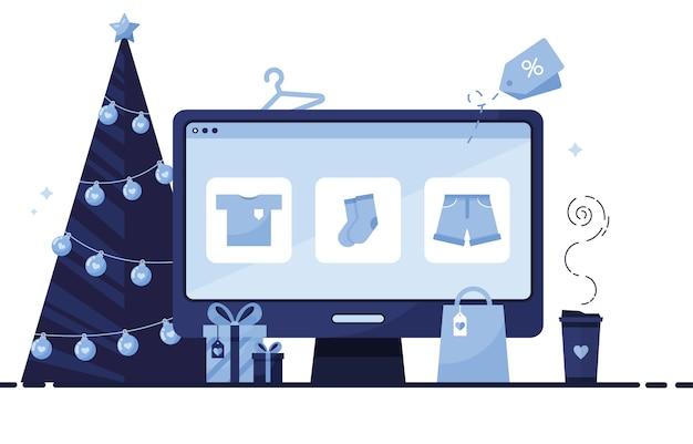 Schermo di computer con un negozio online per natale, capodanno e shopping festivo su sfondo bianco. blu
