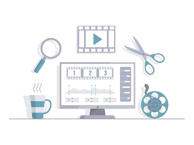 Schermo del computer con taglio video illustrazione piatto vettoriale editor video