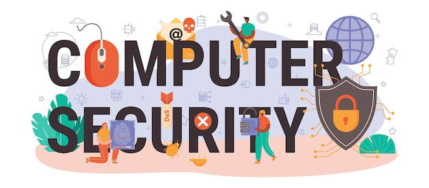Intestazione tipografica di sicurezza informatica. protezione dei dati digitali e database