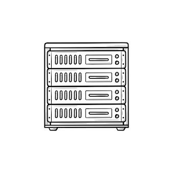 Icona di doodle di contorno disegnato a mano del server del computer. tecnologia di dati e archiviazione, concetto di rete e internet. illustrazione di schizzo vettoriale per stampa, web, mobile e infografica su sfondo bianco.