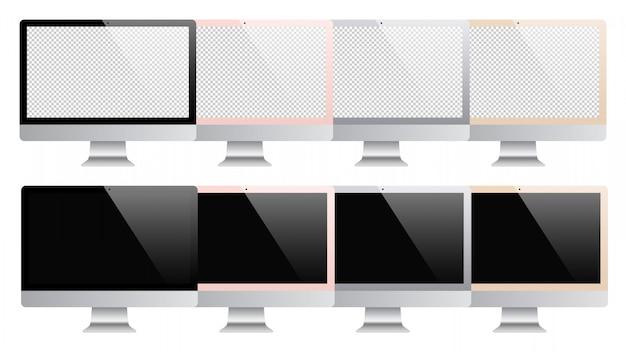 Set di computer isolato su sfondo bianco. illustrazione di riserva