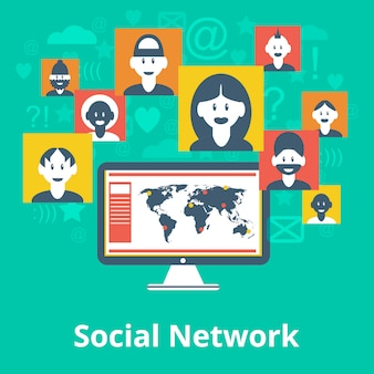 Gli elementi dell'avatar dei partecipanti della rete di media sociali del computer e la composizione di simboli progettano la mappa infographic del grafico