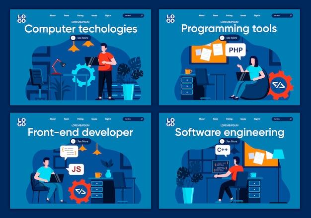 Set di pagine di destinazione piane per tecnologie informatiche. scene di società di sviluppo software per siti web o pagine web cms. strumenti di programmazione, sviluppatore frontend, illustrazione di ingegneria del software.