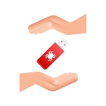 Virus informatico sulla scheda flash usb nelle mani. protezione dal virus. illustrazione di riserva di vettore.