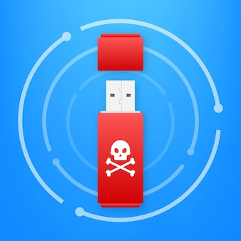 Virus informatico su scheda flash usb. protezione dal virus. illustrazione di riserva di vettore.