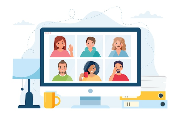 Computer con un gruppo di persone che fanno chiamata di gruppo. riunione online tramite videoconferenza.