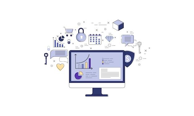 Computer con il infographics di statistiche e l'insieme delle icone, vettore online di affari
