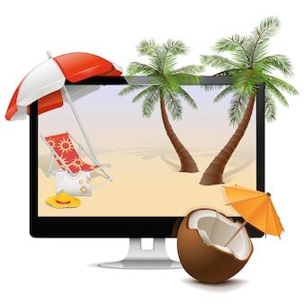 Computer con tropical resort isolato su bianco