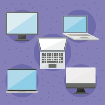 Icona di computer e laptop impostata su sfondo viola