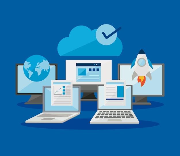 Computer e laptop con collezione di icone digitali