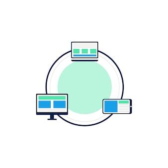 Rete informatica illustrazione del design dell'icona di vettore modello