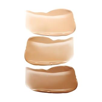 Macchie di correttore. consistenza realistica dei tratti del fondotinta della pelle. campioni di sbavature di trucco, campioni di crema di tono di base cosmetica 3d set vettoriale isolato