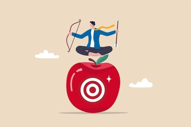 Concentrazione e concentrazione sull'obiettivo o sul bersaglio aziendale, piano aziendale per il concetto di strategia vincente, tiro con l'arco dell'uomo d'affari che tiene freccia e arco meditare e concentrarsi sul bersaglio bullseye al centro della mela.