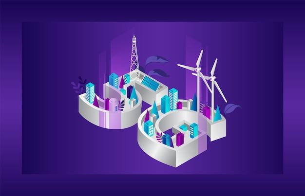 Concetto di generazione di rete 5g. città futuristica con copertura internet 5g con fonti di energia alternative. rete 5g wireless internet ad alta velocità connessione wi-fi.