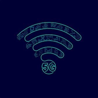Concetto di tecnologia 5g, grafica del simbolo wifi combinato con edificio