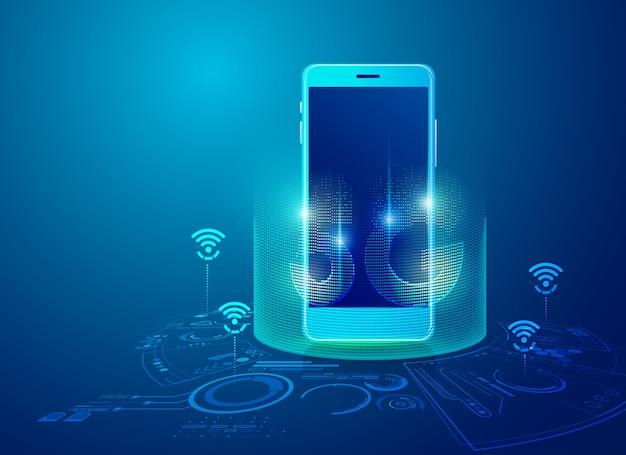 Concetto di tecnologia 5g sul cellulare, grafica del dispositivo di comunicazione con elemento futuristico