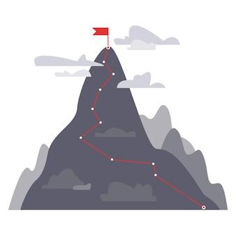 Il concetto di raggiungere l'obiettivo e la cima della montagna con una bandiera rossa in cima vittoria della traiettoria
