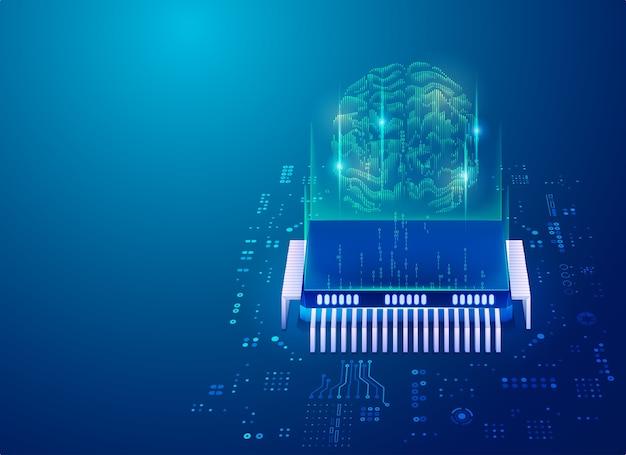 Concetto di intelligenza artificiale nella tecnologia dei big data o informatica quantistica