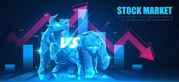 Concept art di bearish in idea futuristica adatta per stock marketing o investimenti finanziari