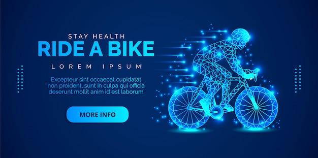 Il concetto di arte di un uomo in sella a una bicicletta. brochure modello, volantini, presentazioni, logo, stampa, depliant, banner.